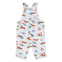 Buy John Lewis Baby Fox Corduroy Dungarees, White/Multi Online at johnlewis.com