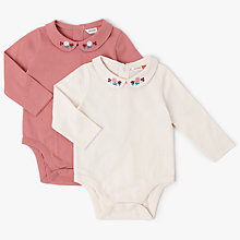 Buy John Lewis Baby Embroidered Bodysuits, Pack of 2, Cream/Pink Online at johnlewis.com