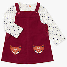 Buy John Lewis Baby Fox Pinafore and T-Shirt Set, Burgundy Online at johnlewis.com