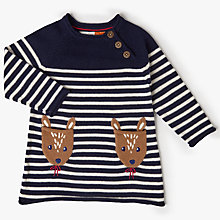 Buy John Lewis Baby Fawn Stripe Knit Dress, Navy Online at johnlewis.com