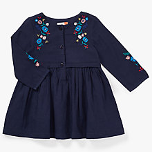 Buy John Lewis Baby Embroidered Woven Dress, Navy Online at johnlewis.com