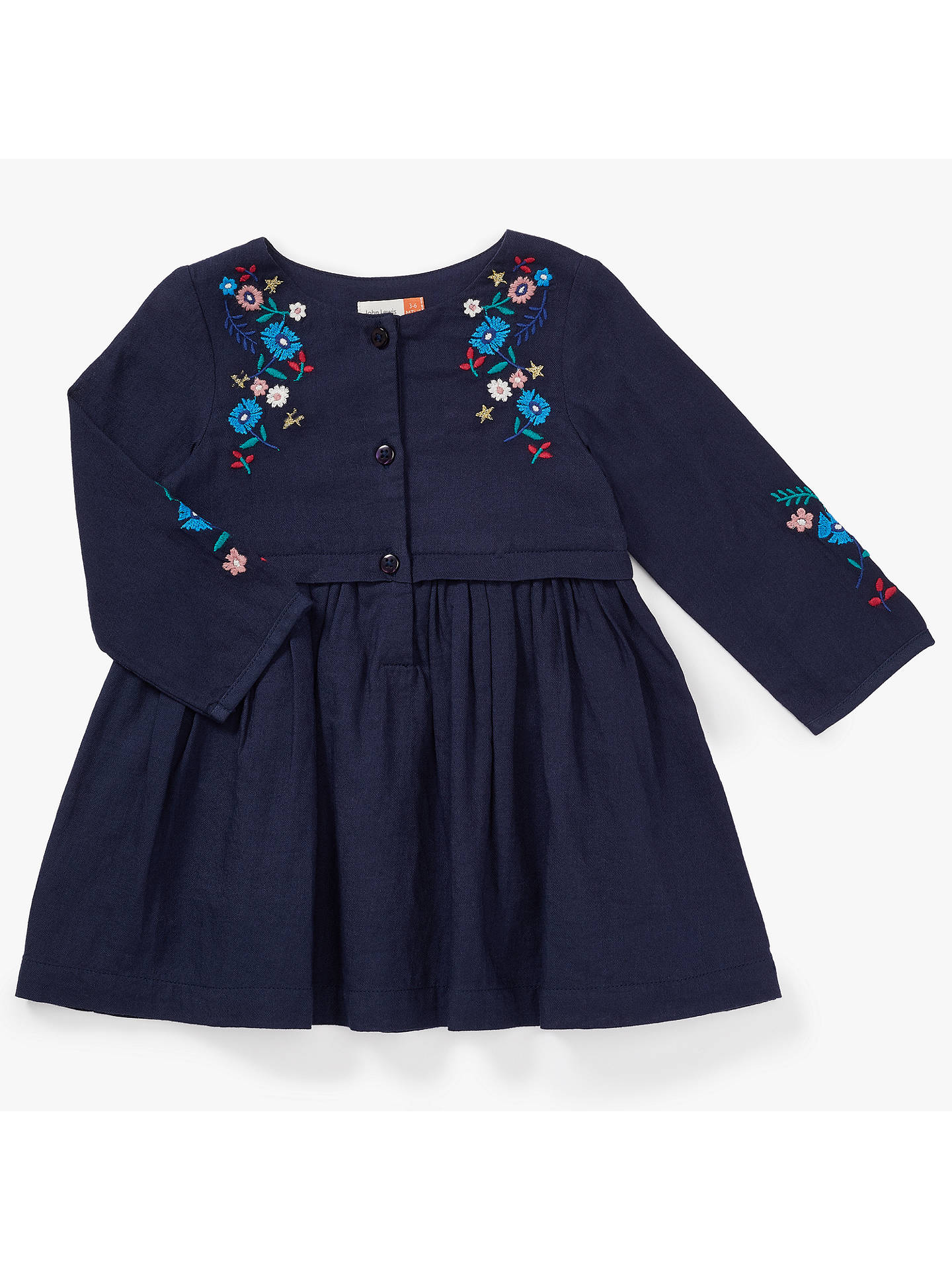 John Lewis Baby Embroidered Woven Dress, Navy at John Lewis & Partners