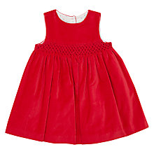 Buy John Lewis Baby Smocked Velvet Dress, Red Online at johnlewis.com