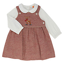 Buy John Lewis Baby Herringbone Pinafore Dress and Top Set, Red Online at johnlewis.com