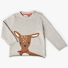 Buy John Lewis Baby Fawn Intarsia Jumper, Cream Online at johnlewis.com