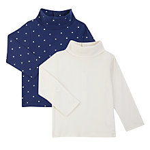 Buy John Lewis Baby Polo Neck Top, Pack of 2, White/Navy Online at johnlewis.com