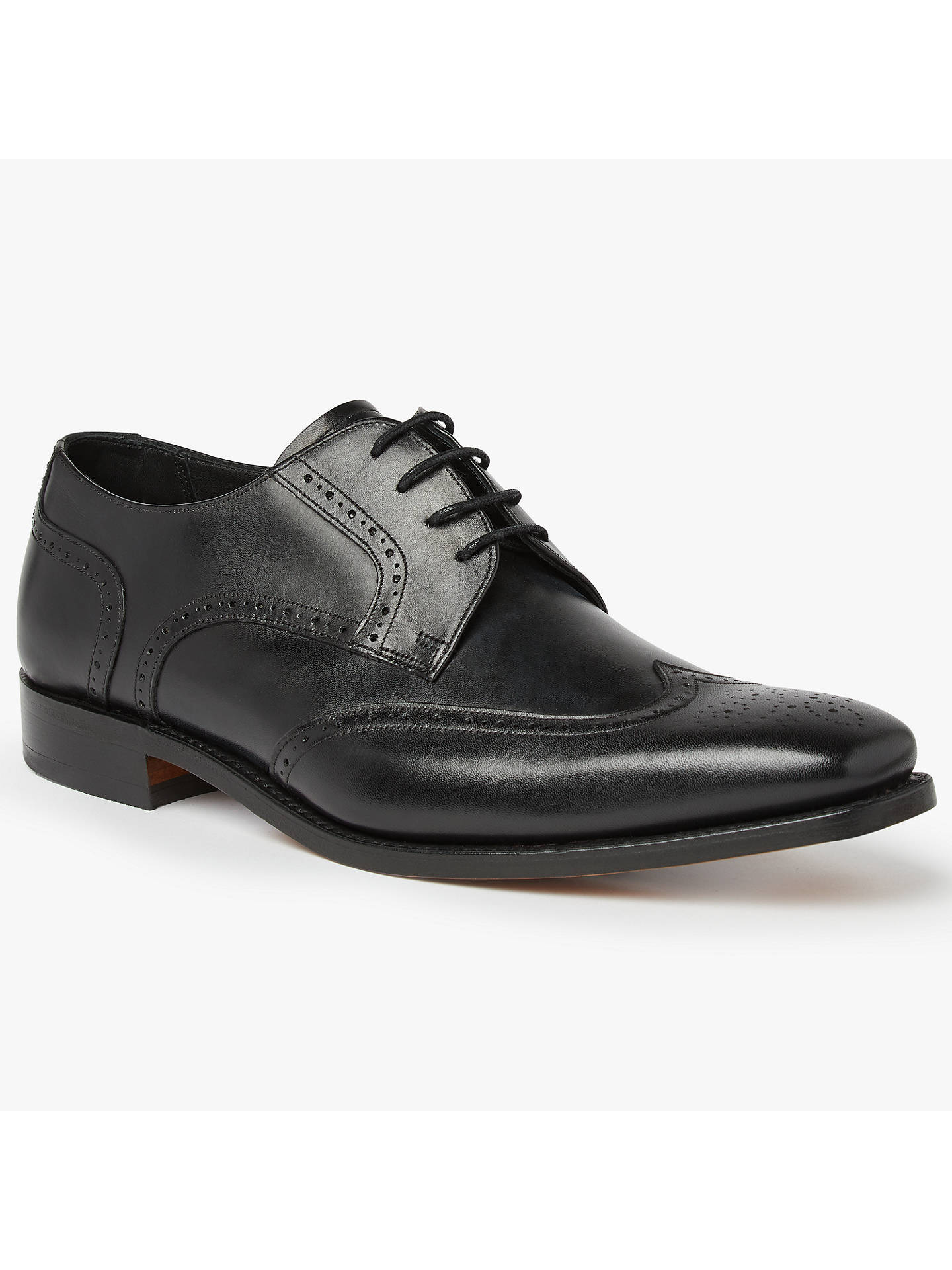 BuyBarker Jordan Wingtip Leather Derby Shoes, Black, 7 Online at johnlewis.com