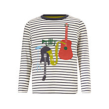 Buy John Lewis Boys' Striped Instrument T-Shirt, White Online at johnlewis.com
