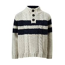 Buy John Lewis Boys' Double Stripe Knitted Jumper, Cream Online at johnlewis.com