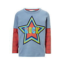 Buy John Lewis Boys' Rock Star Mock T-Shirt, Blue Online at johnlewis.com