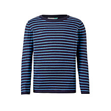 Buy John Lewis Boys' Striped Knit Jumper, Grey/Blue Online at johnlewis.com