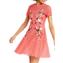 Buy Oasis Cady Embroidered Lace Mesh Skater Dress, Powder Pink Online at johnlewis.com
