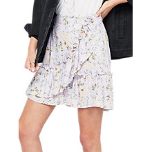 Buy Miss Selfridge Lil Print Ruffle Mini Skirt, Lilac Online at johnlewis.com