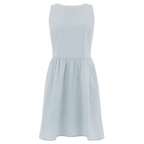 Buy Oasis Ticking Stripe Tie Back Dress, Light Blue Online at johnlewis.com