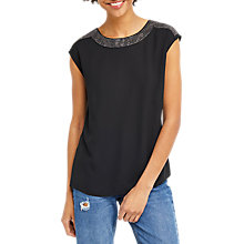 Buy Oasis Embellished Cowl Back T-Shirt, Black Online at johnlewis.com