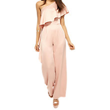 Buy Miss Selfridge One Shoulder Cape Jumpsuit, Pink Online at johnlewis.com