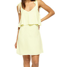 Buy Miss Selfridge Chiffon Tie Shoulder Dress, Lemon Online at johnlewis.com
