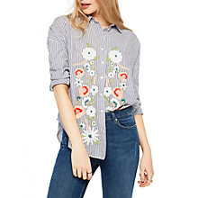Buy Miss Selfridge Embroidered Stripe Shirt, Blue/White Online at johnlewis.com