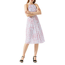 Buy Jigsaw Floral Contours Halter Dress, Aqua Grey Online at johnlewis.com