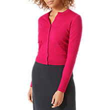 Buy Jigsaw Merino Neat Cardigan, Magenta Online at johnlewis.com