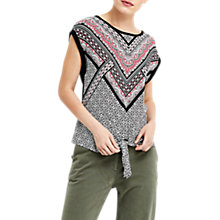 Buy Oasis Tribal Woven Front Knot Top, Black/Multi Online at johnlewis.com