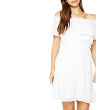 Buy Miss Selfridge Frill Bardot Dress, White Online at johnlewis.com