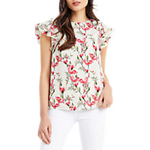 Buy Oasis Magnolia Frill Sleeve Top, Off White/Multi Online at johnlewis.com