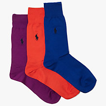 Buy Polo Ralph Lauren Pony Flat Knit Trouser Socks, Pack of 3, Purple/Orange/Blue Online at johnlewis.com