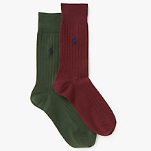 Buy Polo Ralph Lauren Egyptian Cotton Blend Ribbed Socks, Pack of 2 Online at johnlewis.com