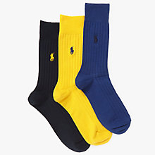 Buy Polo Ralph Lauren Egyptian Cotton Blend Ribbed Socks, Pack of 3, Multi Online at johnlewis.com