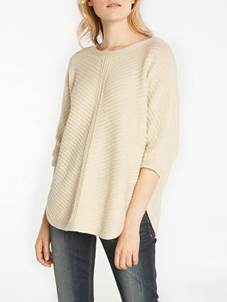 Buy AND/OR Cocoon Rib Jumper, Cream, S Online at johnlewis.com