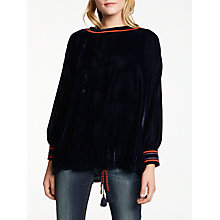 Buy AND/OR Eva Velvet Top, Indigo Online at johnlewis.com