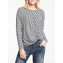 Buy AND/OR Stripe Long Sleeve Knot Top, Grey/Black Online at johnlewis.com