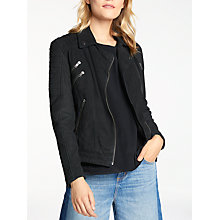 Buy AND/OR Leather Biker Jacket, Black Online at johnlewis.com