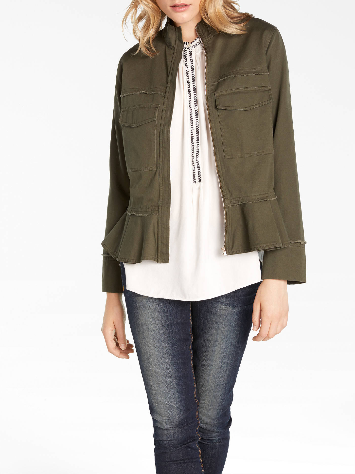 Buy AND/OR Harper Twill Jacket, Khaki, 8 Online at johnlewis.com