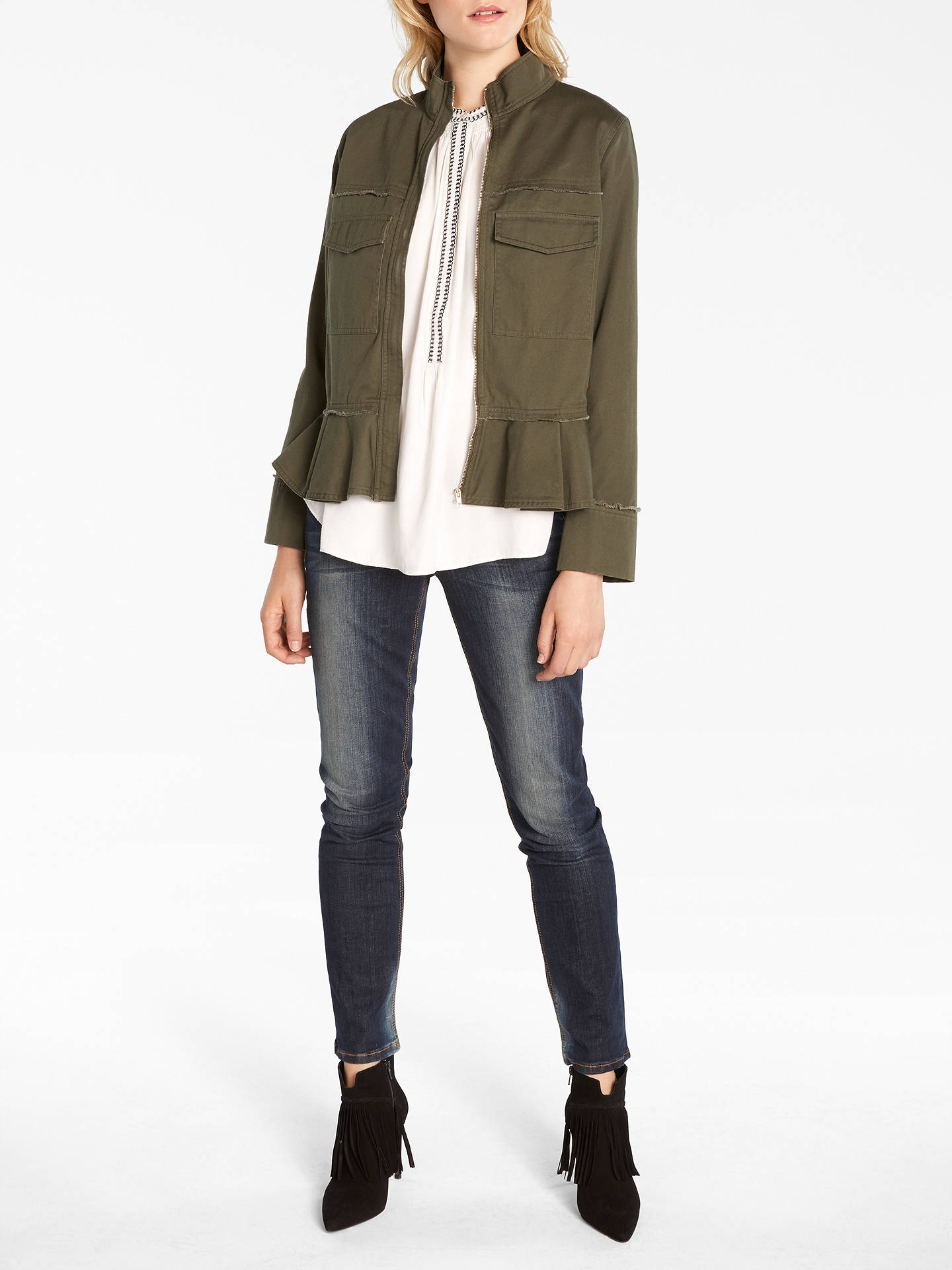 Buy AND/OR Harper Twill Jacket, Khaki, 12 Online at johnlewis.com