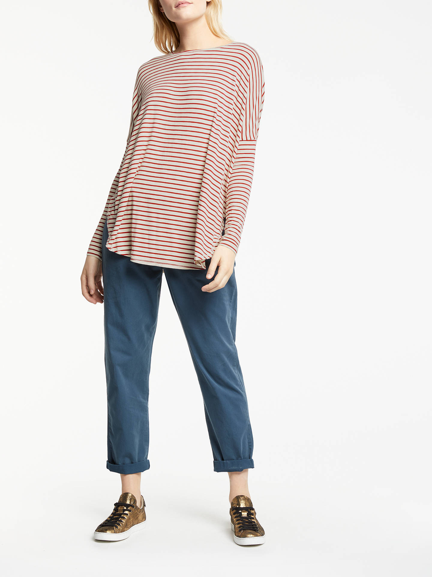 Buy AND/OR Uhla Cape Top, Red/Ecru, S Online at johnlewis.com