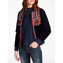 Buy AND/OR Valeska Velvet Embroidered Bomber Jacket, Indigo Online at johnlewis.com