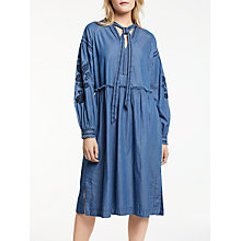 Buy AND/OR Erin Embroidered Cotton Dress, Denim Blue Online at johnlewis.com