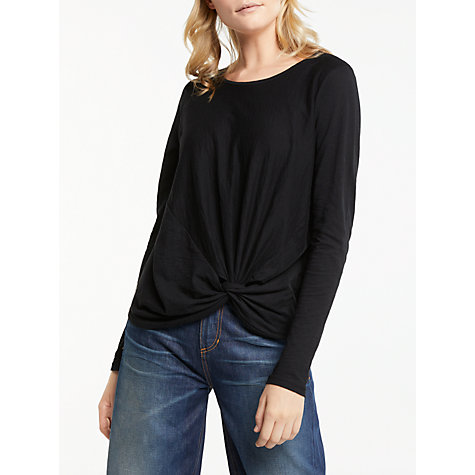Buy AND/OR Long Sleeve Knot Top, Black Online at johnlewis.com