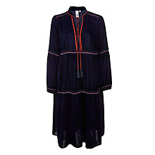 Buy AND/OR Vivi Velvet Tiered Dress, Indigo Online at johnlewis.com
