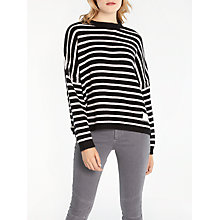 Buy AND/OR Stripe Boxy Knit Jumper, Black/Ivory Online at johnlewis.com