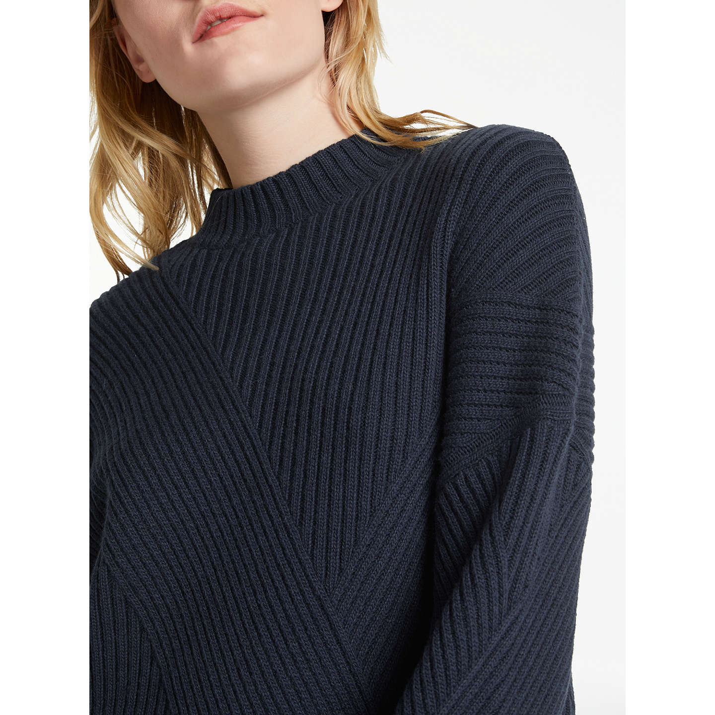 BuyAND/OR Kate Cutabout Rib Jumper, Deep Blue, 8 Online at johnlewis.com