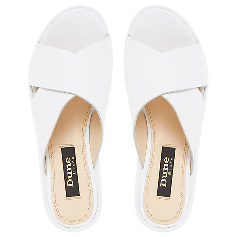 Buy Dune Black Langstan Cross Strap Flatform Sandals, White Online at johnlewis.com