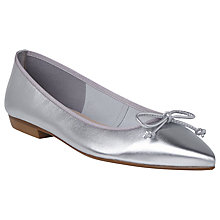 Buy L.K. Bennett Cici Pointed Toe Ballet Pumps, Silver Online at johnlewis.com