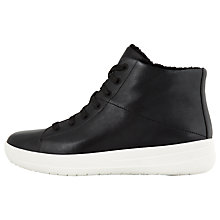 Buy FitFlop F-Sporty High Top Boot Trainers, Black Leather Online at johnlewis.com