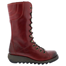 Buy Fly London Ster Lace Up Calf Boots, Red Online at johnlewis.com