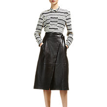 Buy Whistles Wrap Leather Midi Skirt, Black Online at johnlewis.com