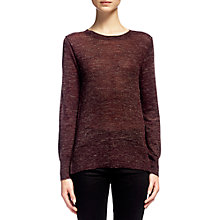 Buy Whistles Split Hem Marl Knit, Burgundy Online at johnlewis.com