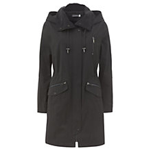 Buy Mint Velvet Cupro Collar Parka Coat, Black Online at johnlewis.com